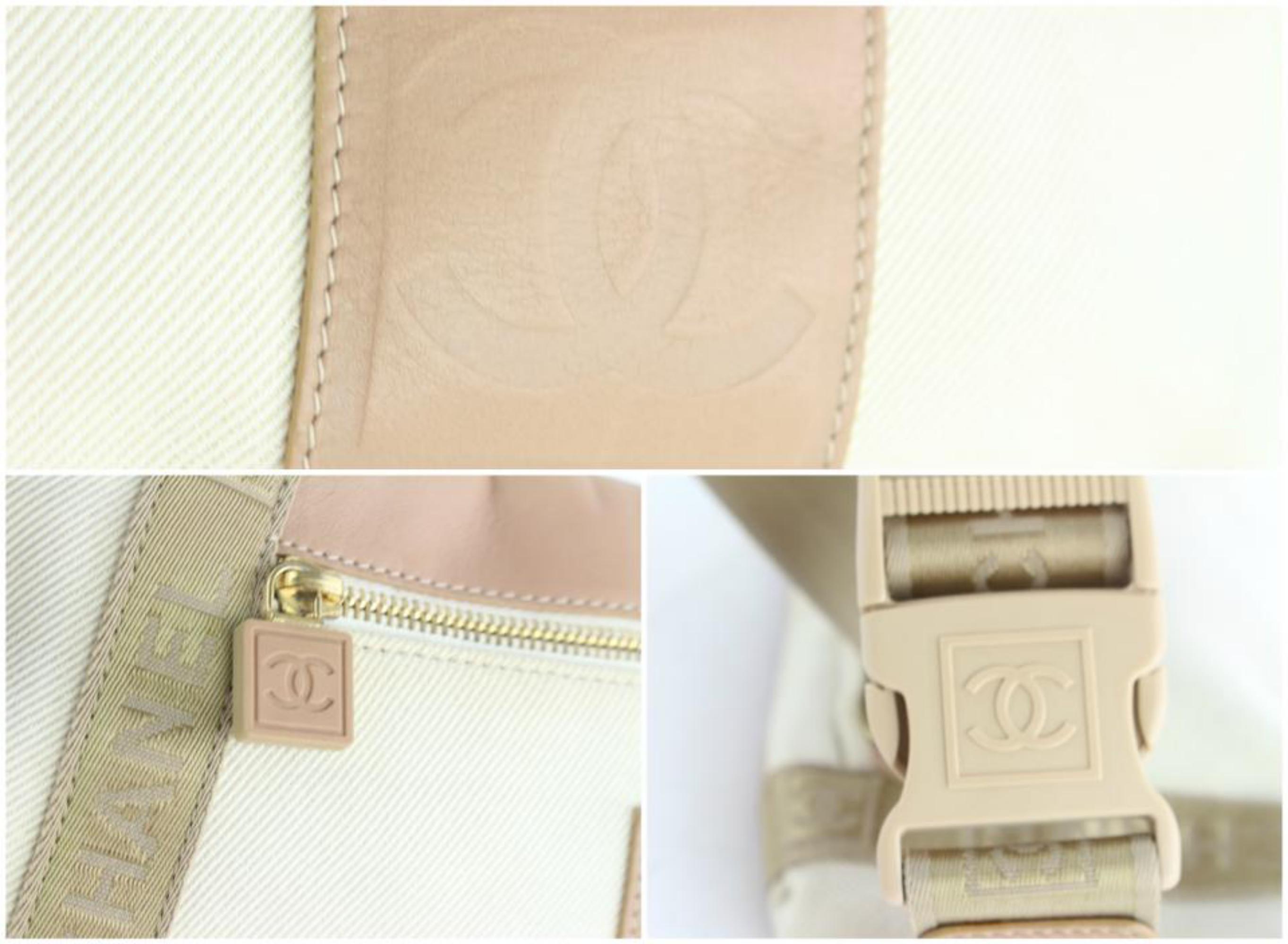 06542e8618fc Chanel Waist Pouch Fanny Pack Belt 16cz1130 Beige Canvas Cross Body Bag at  1stdibs
