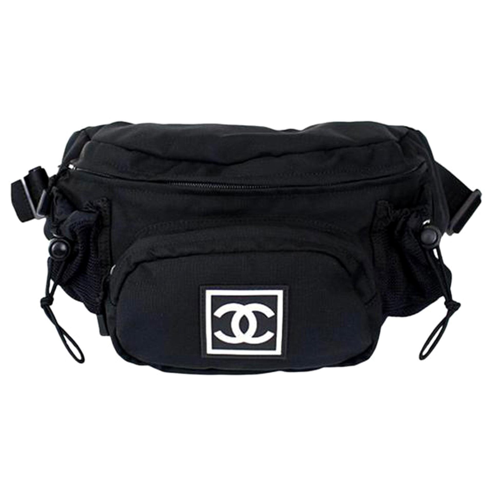 Chanel Waist Sport Fanny Pack Banane Rare Soldout Black Nylon Cross Body Bag