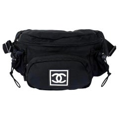 Chanel Waist Sport Fanny Pack Banane Rare Soldout Black Nylon Cross Body Bag