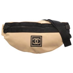 Chanel Waist XL Sport Fanny Pack Banana Beige Nylon Cross Body Bag