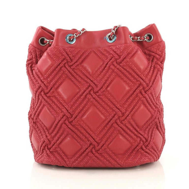 Pink Chanel Walk Of Fame Drawstring Bucket Bag Stitched Lambskin Small  For Sale