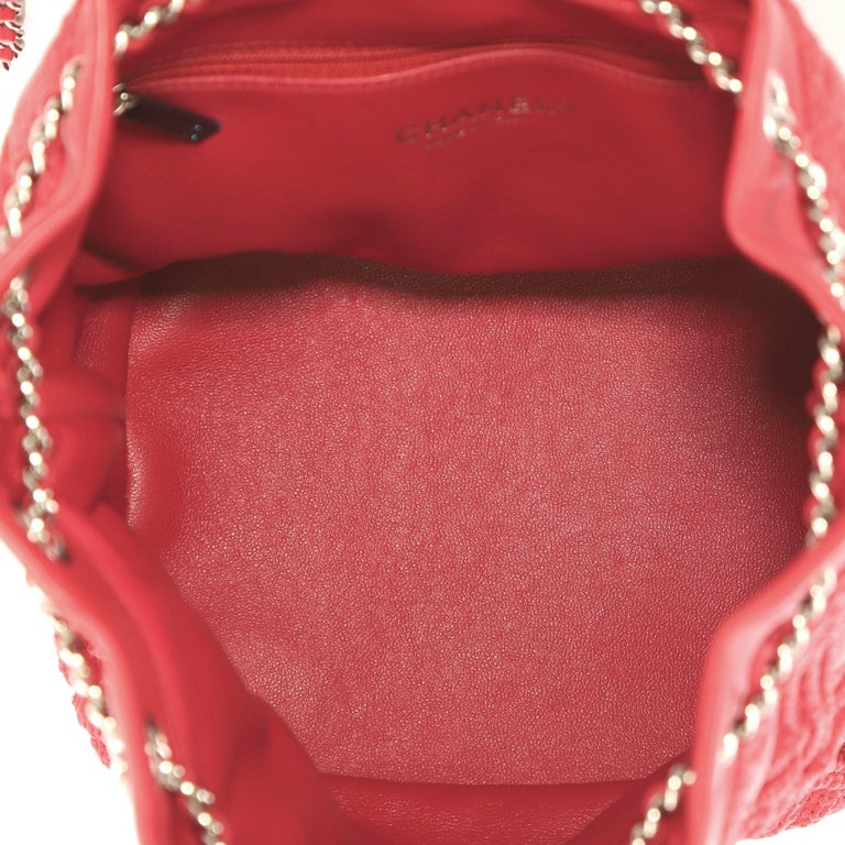 Women's or Men's Chanel Walk Of Fame Drawstring Bucket Bag Stitched Lambskin Small  For Sale