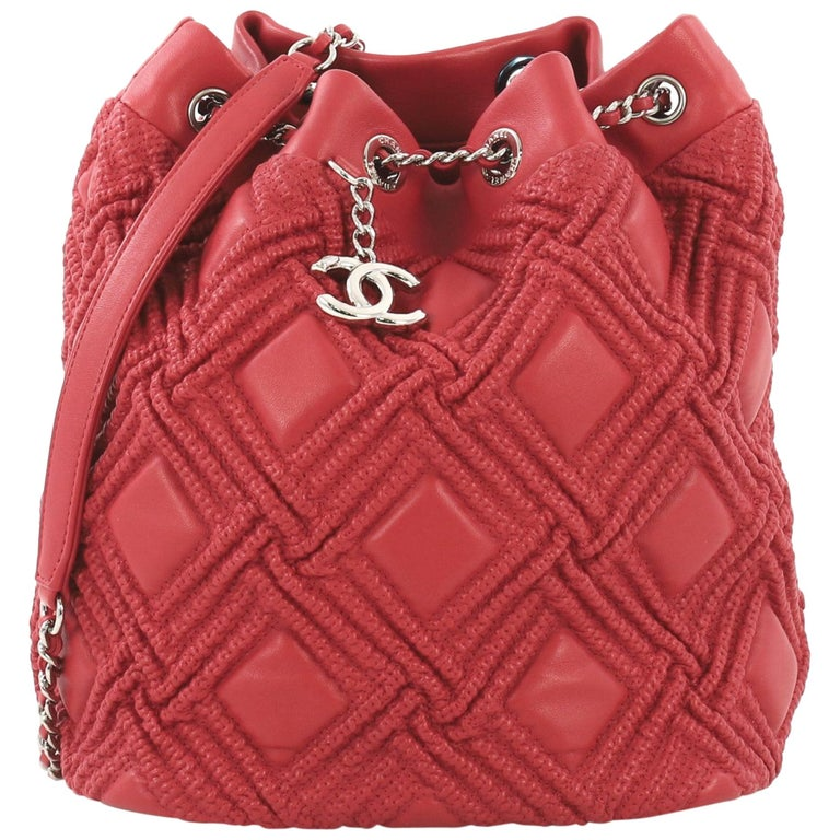 Chanel Walk Of Fame Drawstring Bucket Bag Stitched Lambskin Small  For Sale