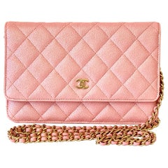 Chanel Wallet on Chain 19s Iridescent Pearly Pink Woc  Caviar Cross Bo