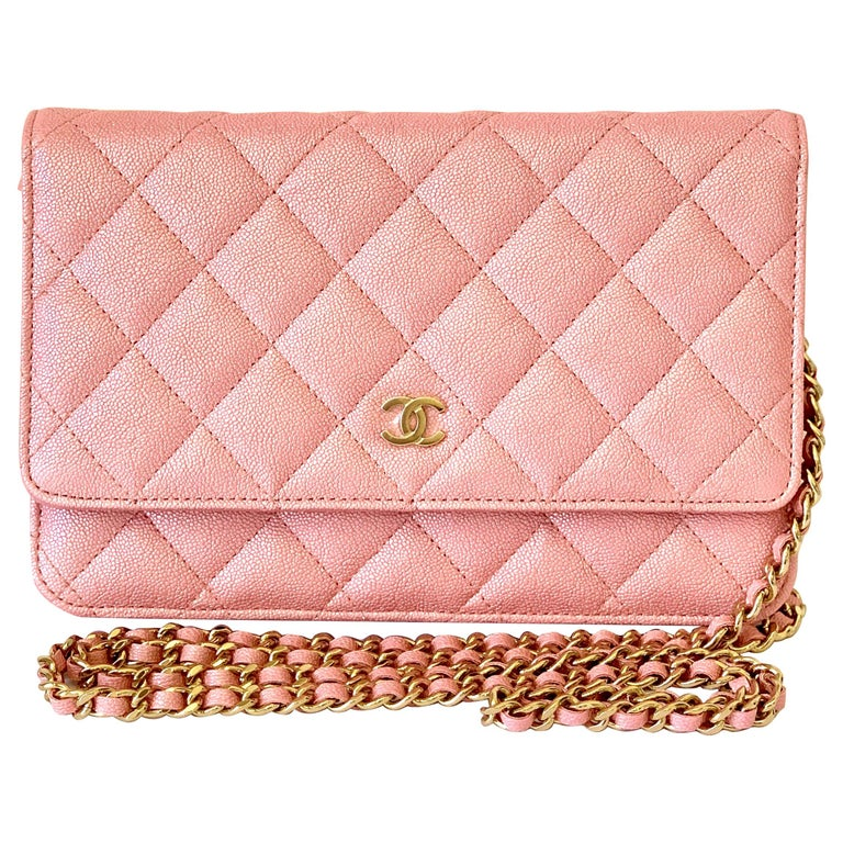 Chanel Wallet on Chain 19s Iridescent Pearly Pink Woc  Caviar Cross Bo For Sale