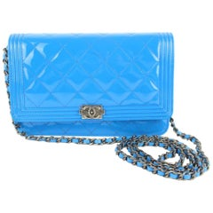1333babc426a Chanel Wallet on Chain Boy Quilted Le Flap 11cz1211 Blue Leather Cross Body  Bag