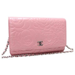 Chanel Wallet on Chain Camellia 3cr0108 Pink Leather Cross Body Bag