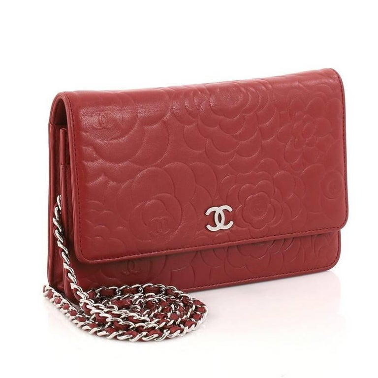 Red Chanel Wallet on Chain Camellia Lambskin  For Sale