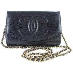 Chanel Wallet on Chain Caviar Flap 11cz0123 Black Leather Shoulder Bag