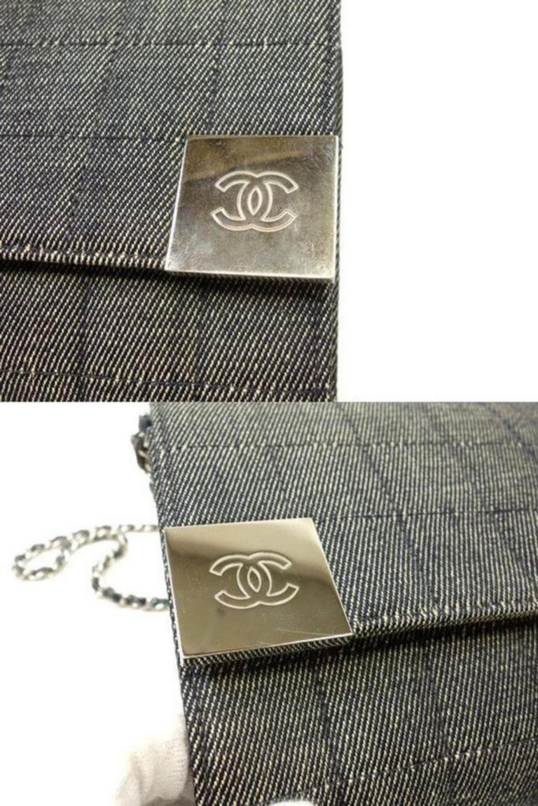 aabe29a0c230 Women's Chanel Wallet on Chain Charcoal Chocolate Bar Flap 228748 Denim Shoulder  Bag For Sale