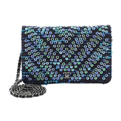 Chanel Wallet on Chain Chevron Tweed and Rhinestones