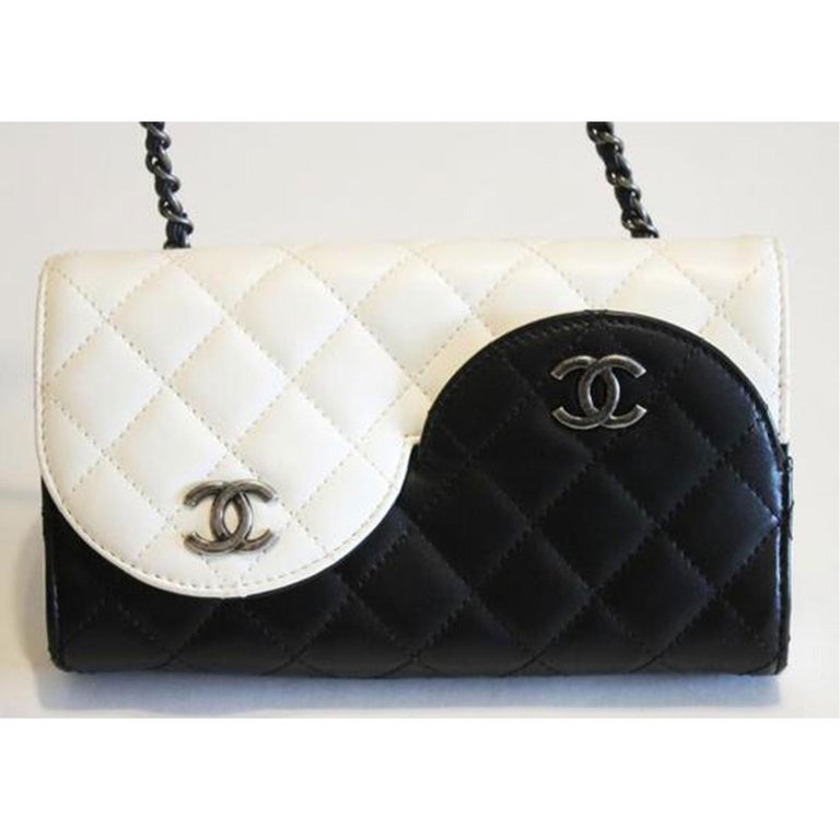 Black Chanel Wallet on Chain Classic Flap Rare Ying Yang Mini Woc Cross Body Bag For Sale
