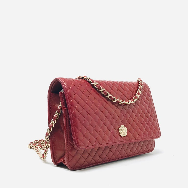 Red Chanel Wallet on Chain Lambskin Leather Bordeaux .2008