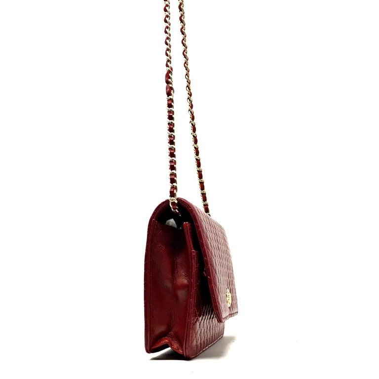 Women's or Men's Chanel Wallet on Chain Lambskin Leather Bordeaux .2008