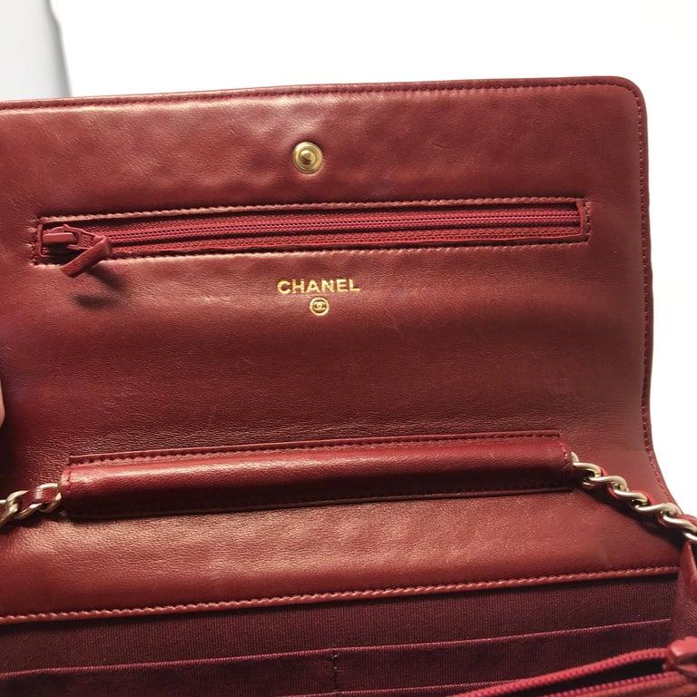 Chanel Wallet on Chain Lambskin Leather Bordeaux .2008 2