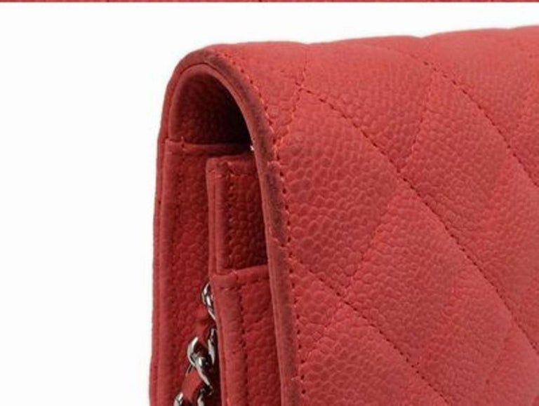 7dd74b0f8b9a Chanel Wallet on Chain Quilted Caviar 219717 Red Leather Shoulder Bag For  Sale 6