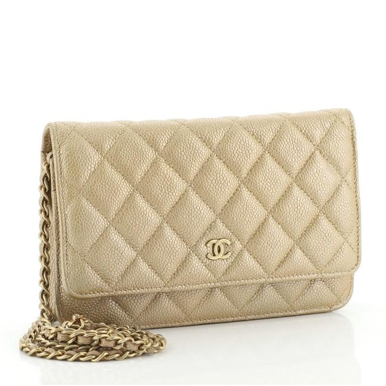 Beige Chanel Wallet on Chain Quilted Caviar For Sale