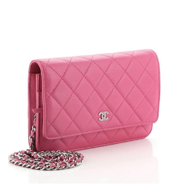 Pink Chanel Wallet on Chain Quilted Caviar For Sale