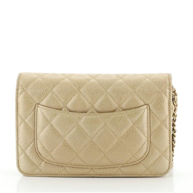 Chanel Wallet on Chain Quilted Caviar In Good Condition For Sale In New York, NY