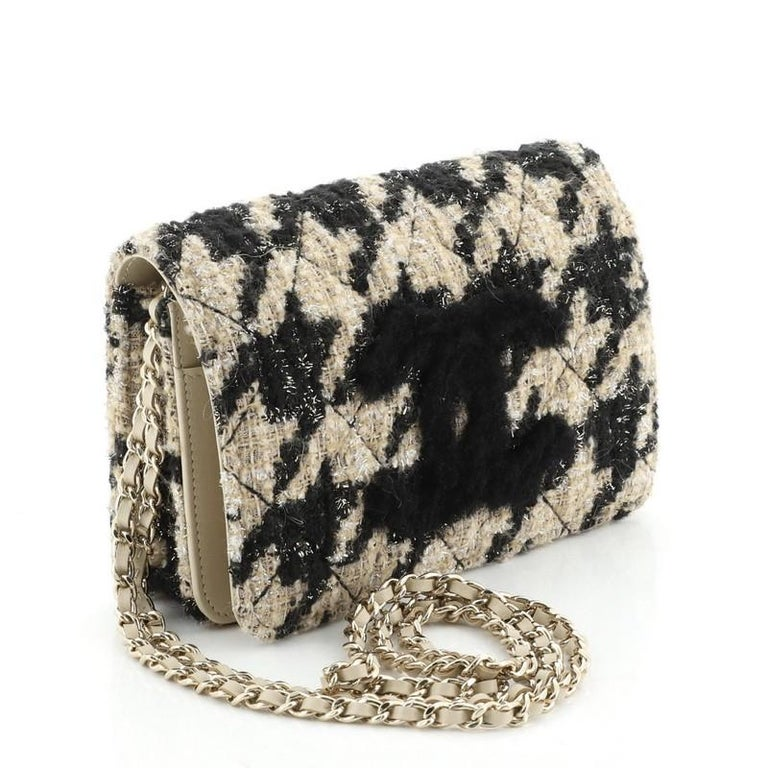 Chanel Wallet on Chain with Coin Purse Quilted Tweed with Shearling In Good Condition For Sale In New York, NY