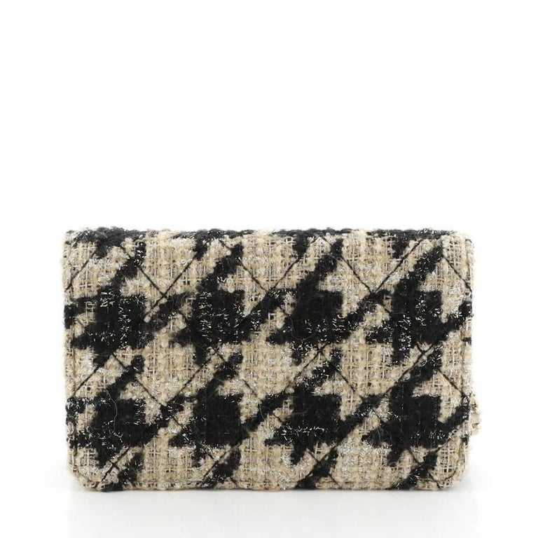 Women's or Men's Chanel Wallet on Chain with Coin Purse Quilted Tweed with Shearling For Sale