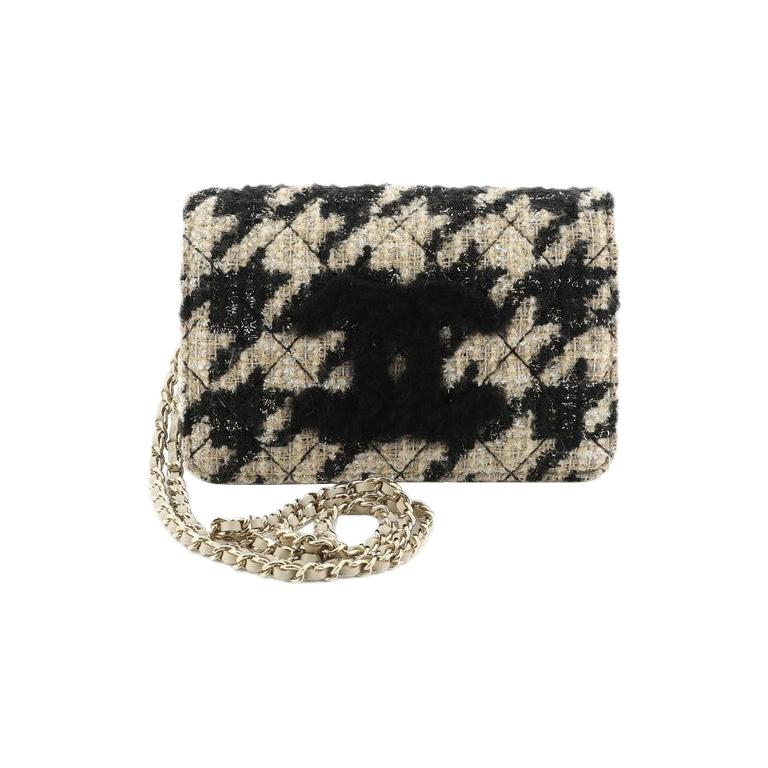 Chanel Wallet on Chain with Coin Purse Quilted Tweed with Shearling For Sale