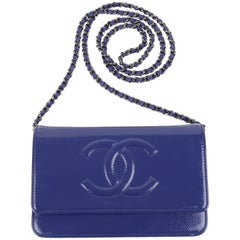 Chanel Wallet On Chain WOC Bag Patent Leather - blue/silver