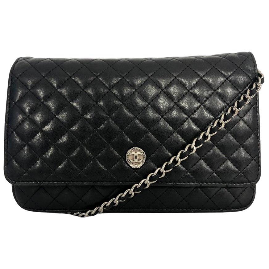 Chanel Wallet on Chain (WOC) in black lambskin leather
