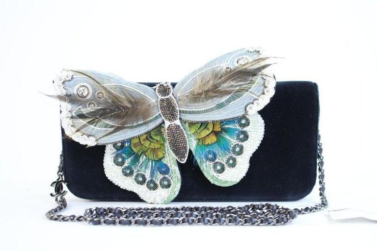 Black Chanel Wallet on Clutch Butterfly Feather & Sequin Chain 3ccty71417 Cross Body  For Sale