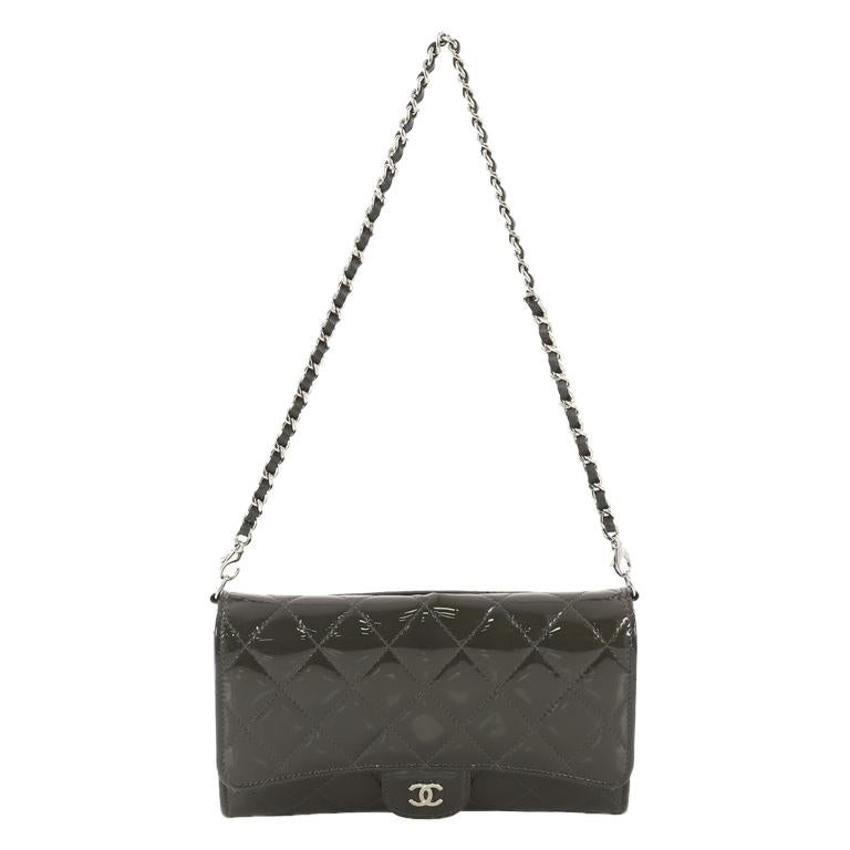 35f271dfd386 Chanel Wallet With Chain Flap Quilted Patent Small For Sale at 1stdibs