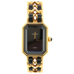 Chanel Watches Black Leather and Gold-Plated Bracelet 'Quartz Movement'