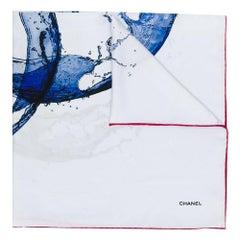 Chanel Water Logo Print Silk Scarf