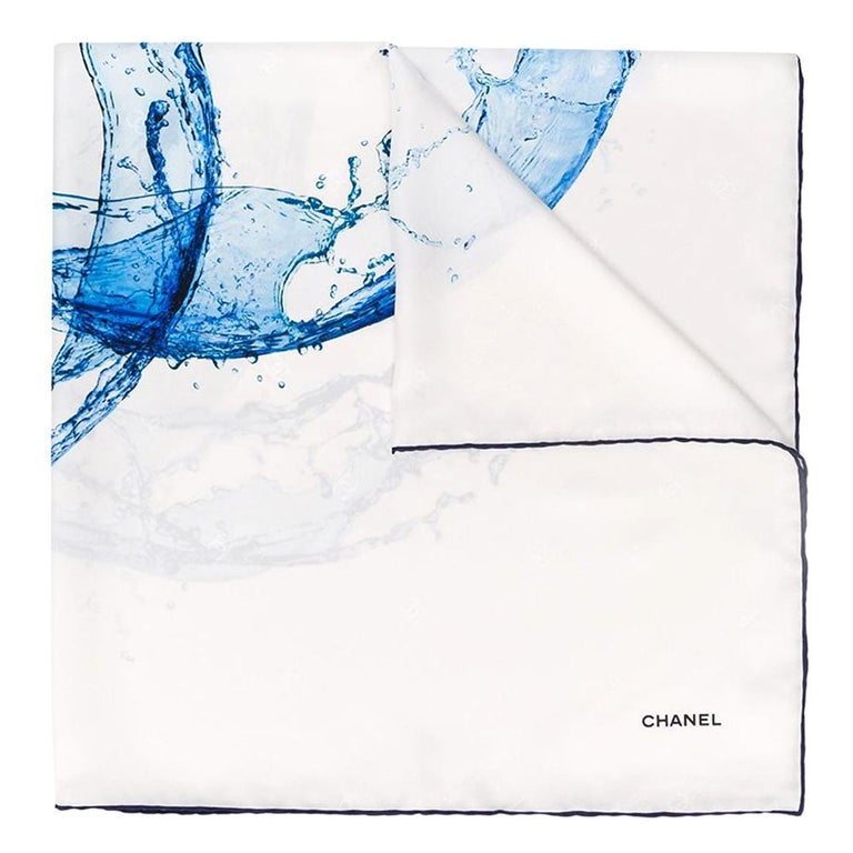 Chanel Water Logo Silk Scarf For Sale