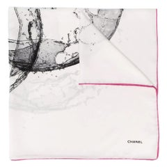 Chanel Water Logo Silk Scarf