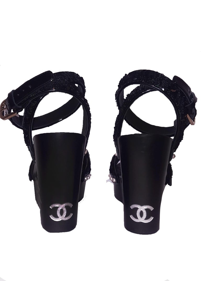 Chanel Wedge Black Sandals W/ Faux Mother of Pearl Flower & Sequin Straps 1