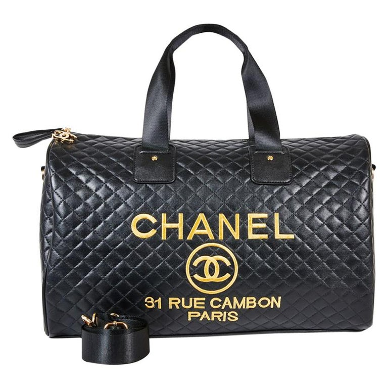cbe11c5182e1 CHANEL Week-End Bag in Black Quilted Leatherette For Sale at 1stdibs
