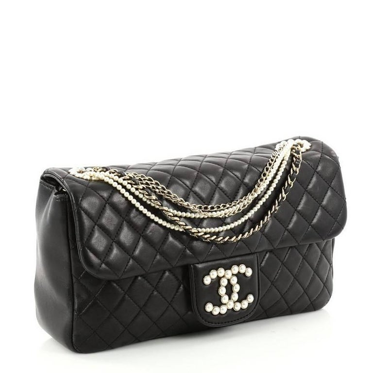 a179686cc043 Black Chanel Westminster Pearl Chain Flap Bag Quilted Lambskin Medium For  Sale