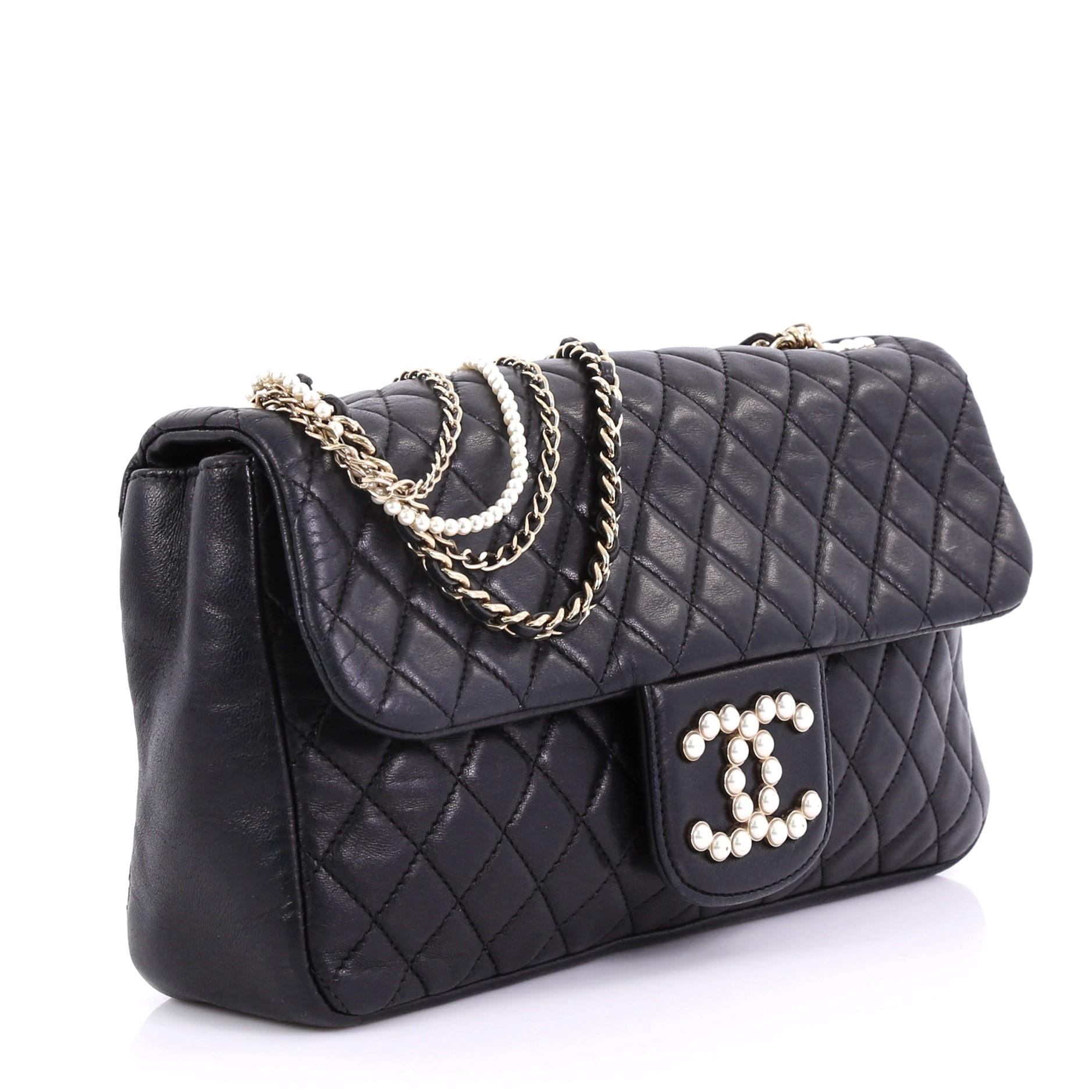 ee7c411fb976 Chanel Westminster Pearl Chain Flap Bag Quilted Lambskin Medium at 1stdibs