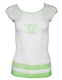 Chanel White & Green Silk CC Top Sz FR42