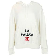Chanel White 2019 Cruise Cashmere La Pausa Hooded Sweater sz 44 rt $3,250