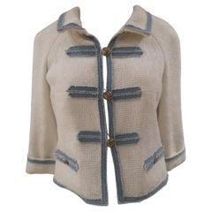 Chanel white and denim cotton silk jacket