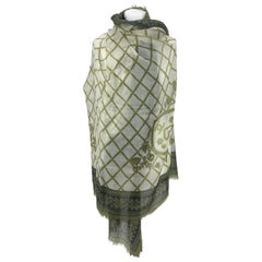 Chanel White and Green Cashmere Lattice Hearts Shawl Large Scarf