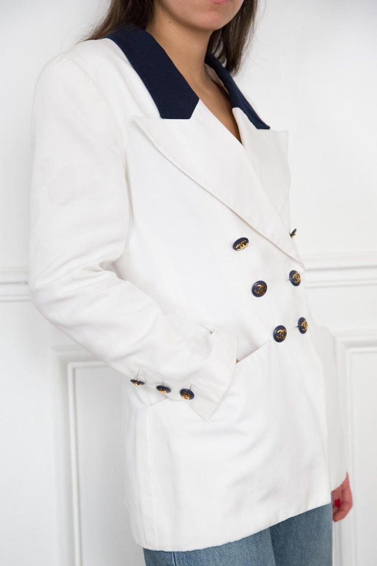 Gray Chanel White and Navy Long Cotton Blazer
