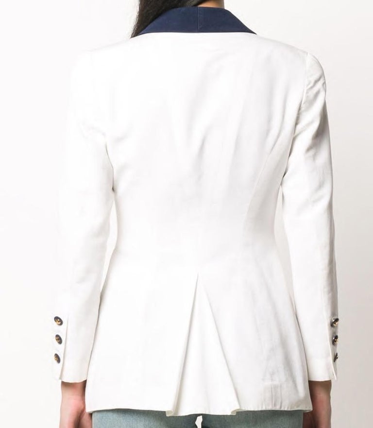 Chanel White and Navy Long Cotton Blazer In Excellent Condition In Paris, FR