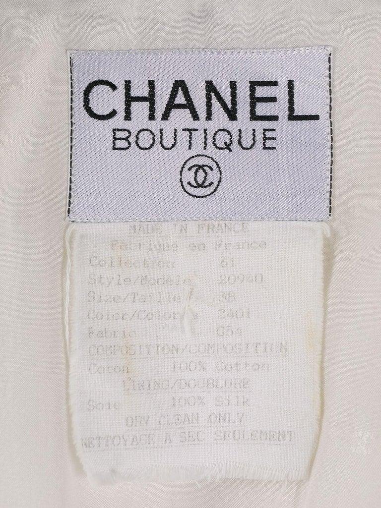 Women's Chanel White and Navy Long Cotton Blazer
