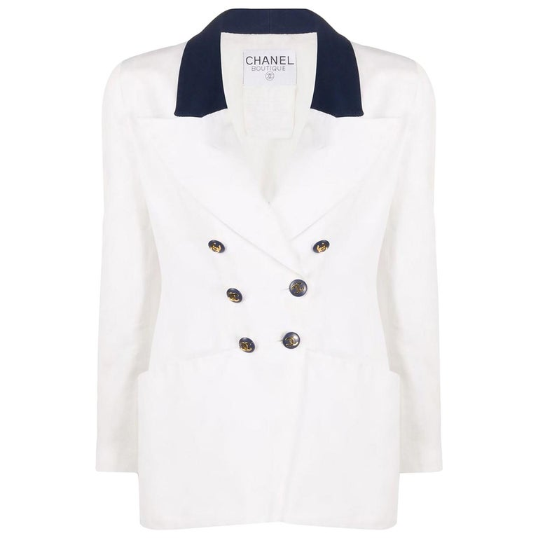 Chanel White and Navy Long Cotton Blazer