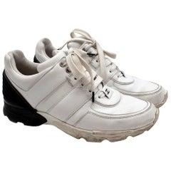 Chanel White & Black Calfskin Trainers - Size EU 38