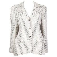 CHANEL white & black cotton BOUCLE Peak-Collar Blazer 38 S