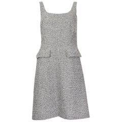 CHANEL white & black cotton BOUCLE Sleeveless Shift Dress 36