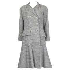 CHANEL white & black cotton Double-Breasted Tweed Coat Jacket 38 S